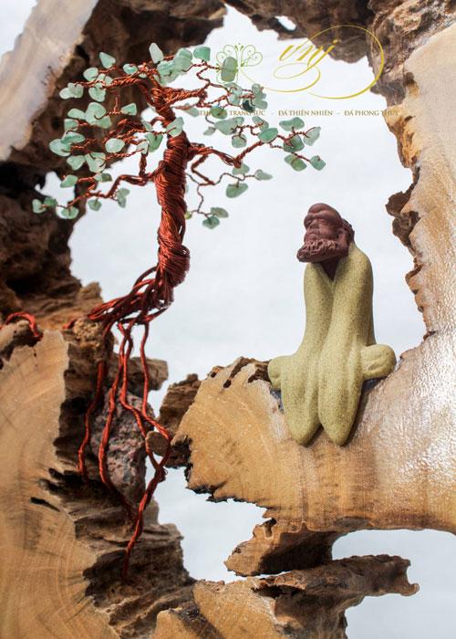 Bonsai Lũa Treo Tường Đá Quý Thạch Anh Xanh LBS-T004