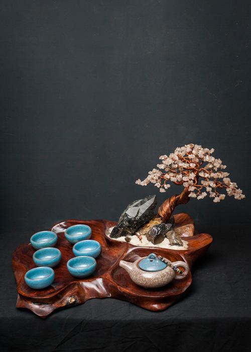 Bộ ấm trà bonsai tinh thể thạch anh khói