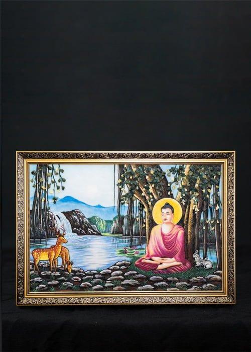 Tranh đá quý Phật toạ gốc bồ đề TDQ-T008